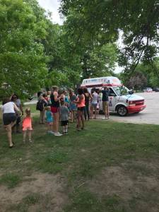The line to yumminess at Kelly's Ice Cream Truck.