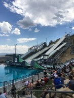 The freestly and ski jumpers practice on these jumps into the pool each summer to perfect their skills before the snow falls!