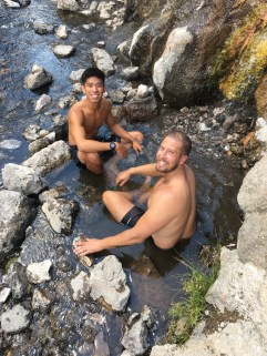 We found a natural hot spring.... so decided to get in!