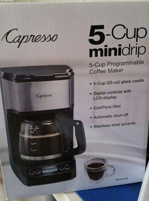 The 5-Cup Mini Drip Coffee Maker is a programmable drip coffee maker for brewing the perfect amount for small households.