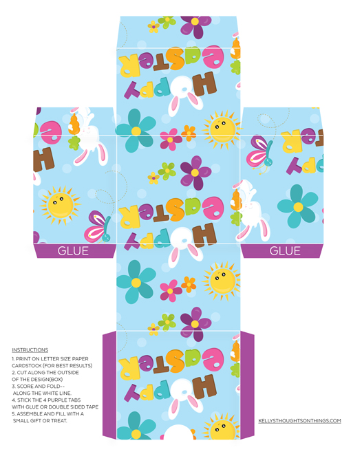 Free printable make your own easter gift box diy kellys hoppy easter box make your own diy negle Image collections