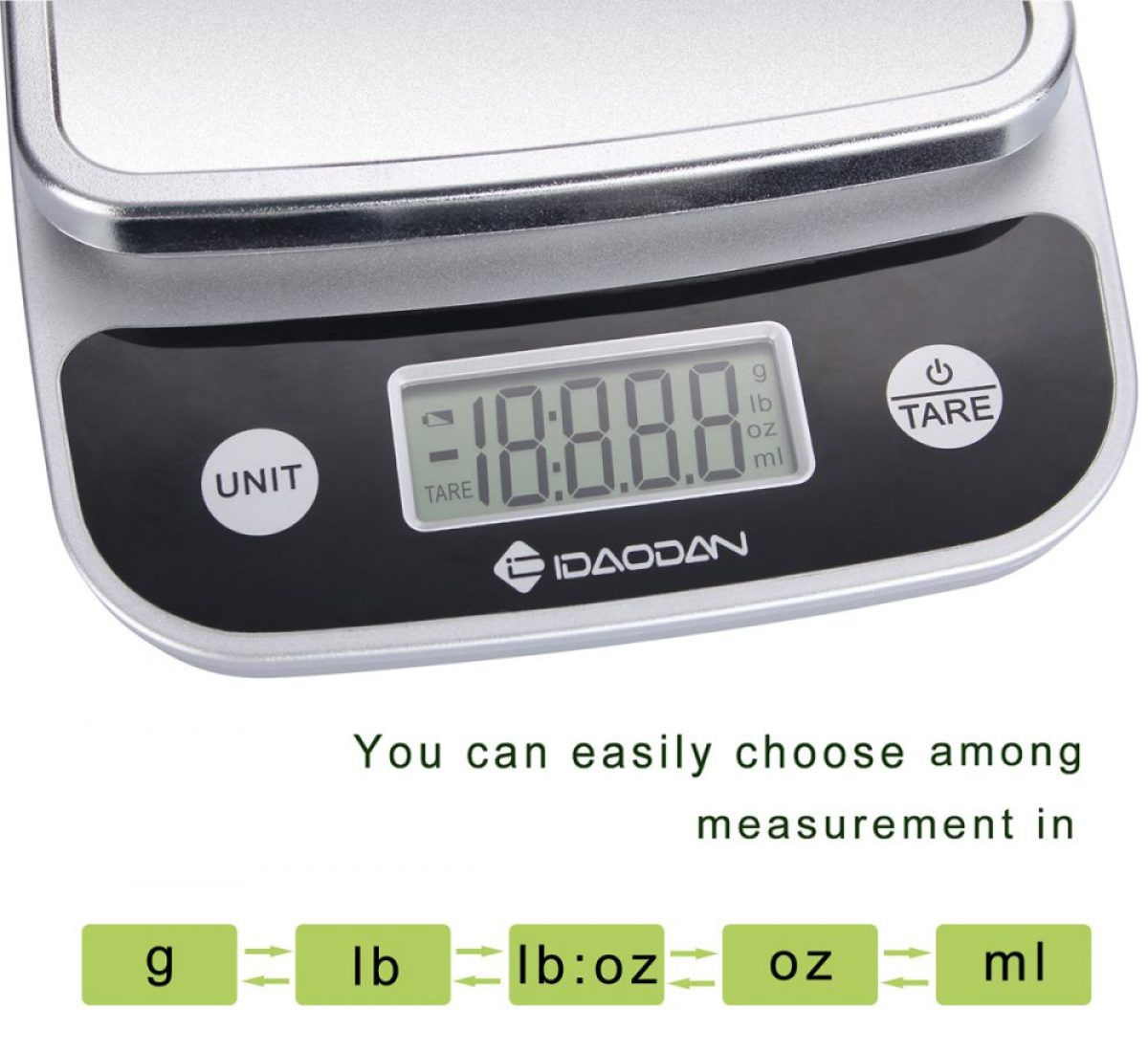 IDAODAN 0.01oz to 11lbs Digital Display Kitchen Food Scale for Precise Cooking and Baking, Multifunction Postal Scale with Large LCD Screen, Elegant Black