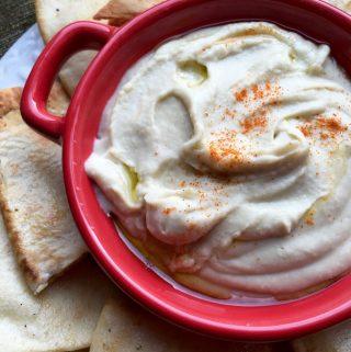 White Bean Dip with Seasoned Pita Chips Recipe