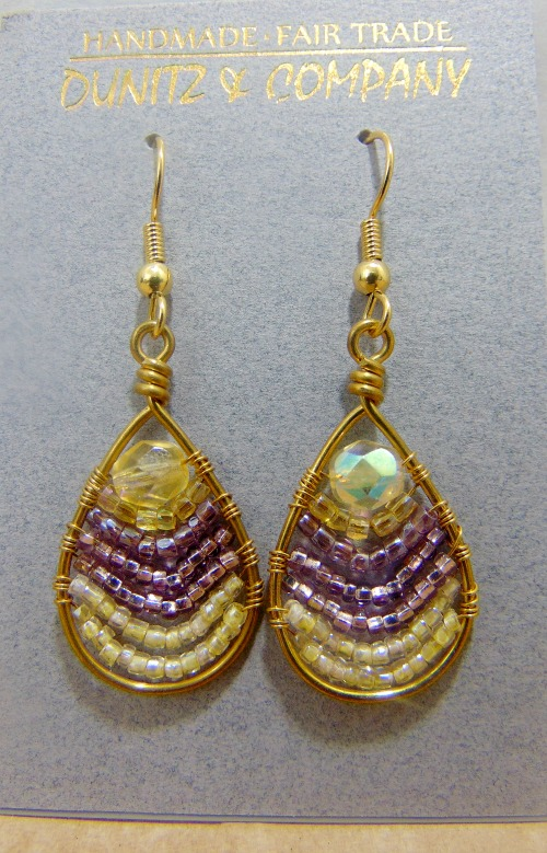 """These are some of our most popular earrings. Dangles approximately 1-1/8"""" Czech & Japanese glass seed beads and crystals, wire, Surgical steel ear wires Made In Guatemala"""