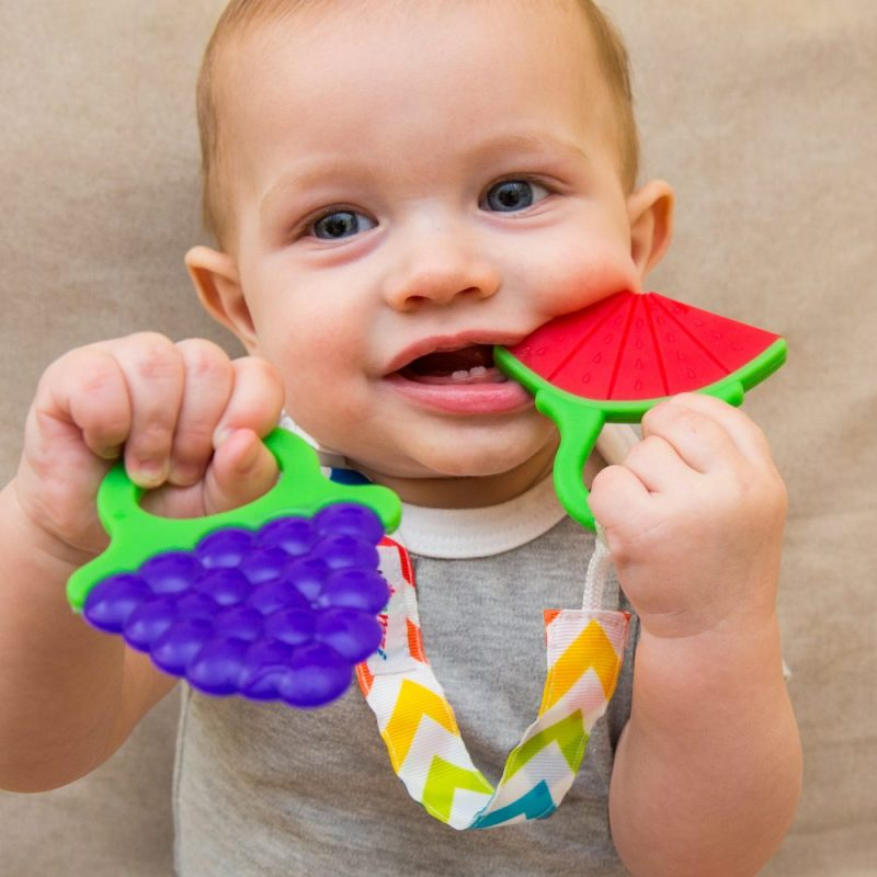 Tutti Fruitti Teether Toys comes in a set of 3 teethers, strap, and a baby toothbrush.