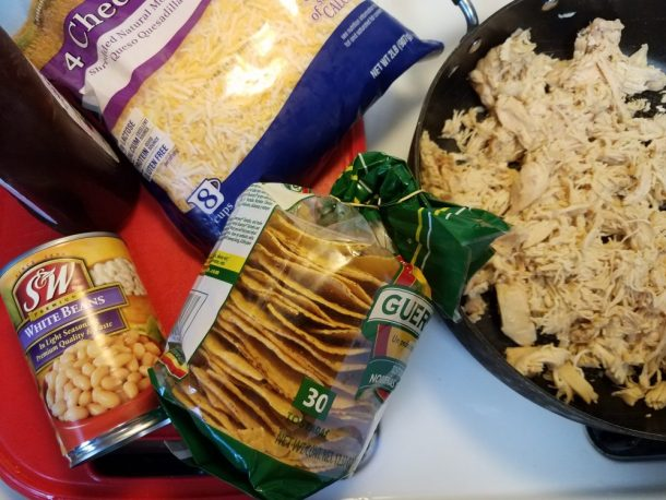 What you need for Easy Crockpot BBQ Chicken and Bean Tostada
