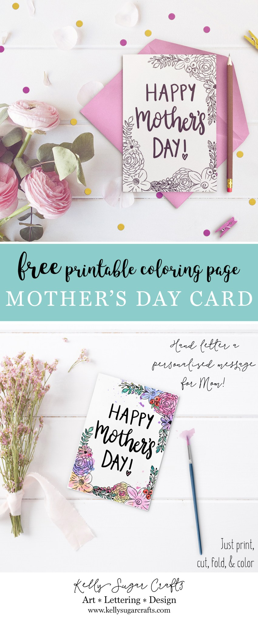 Free printable floral Mother's Day coloring page card by Kelly Sugar Crafts