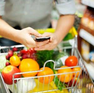 Man texting during shopping