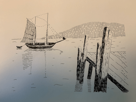 Drawing of small sailboat
