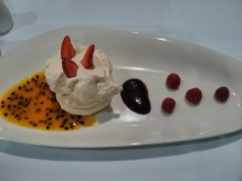 Pavlova with Caboolture passionfruit and Red Hill raspberries