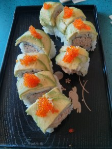 Caterpillar roll (tuna with avocado and salmon roe)