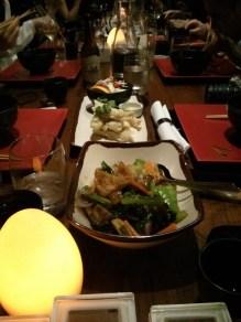 Braised vegetables and tempura barramundi