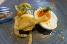 Southern kipfler potato salad w salmon gravalax (portion of whole serving)