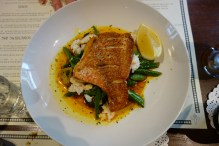 Market fish w creole butter, crab meat & autumnal vegetable medley