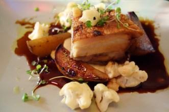 Slow roasted pork belly w smoky cauliflower & roast pears