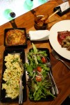 Potatoes (Dauphinoise and duck fat chips!), mac n cheese, garden salad