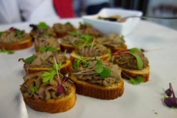 Duck liver and mushroom pate on brioche and orange jam