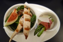 Chicken, fennel, apple, fig and quinoa salad and prosciutto wrapped asparagus