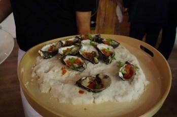Oysters with tomato chilli granita