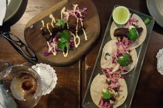 Pork cheeks and fish tacos
