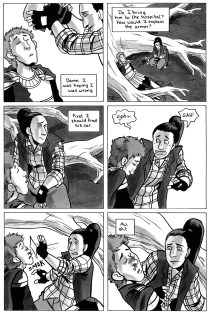 A page of Misfits of Avalon Vol 2 drawn in 2015
