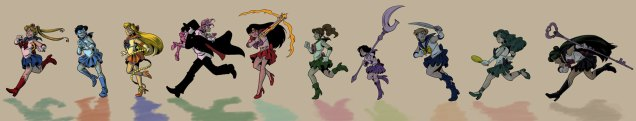 Illustration of Sailor Scouts drawn in 2011