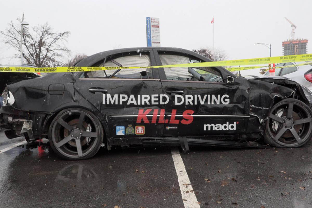 MADD car crash display at Kelowna Home Hardware.