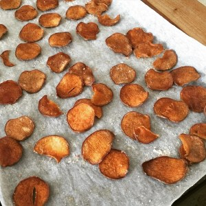Sweet potato chips (baked in oven)