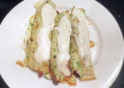 Wild Mushroom Crepes with Bechamel Sauch