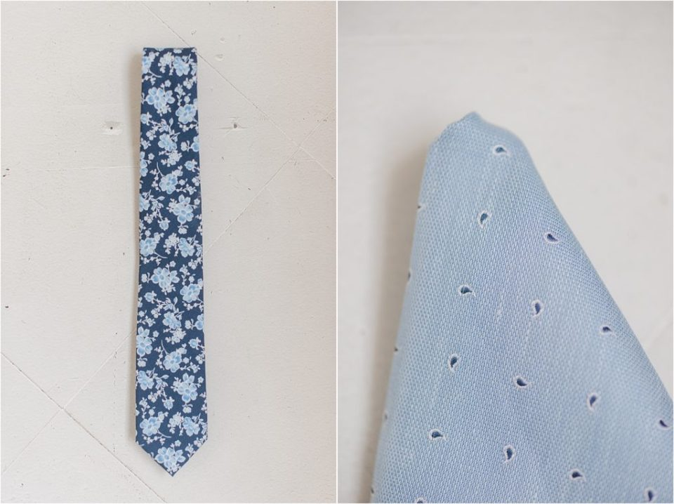 Tie Bar Dusty blue and navy tie and pocket square