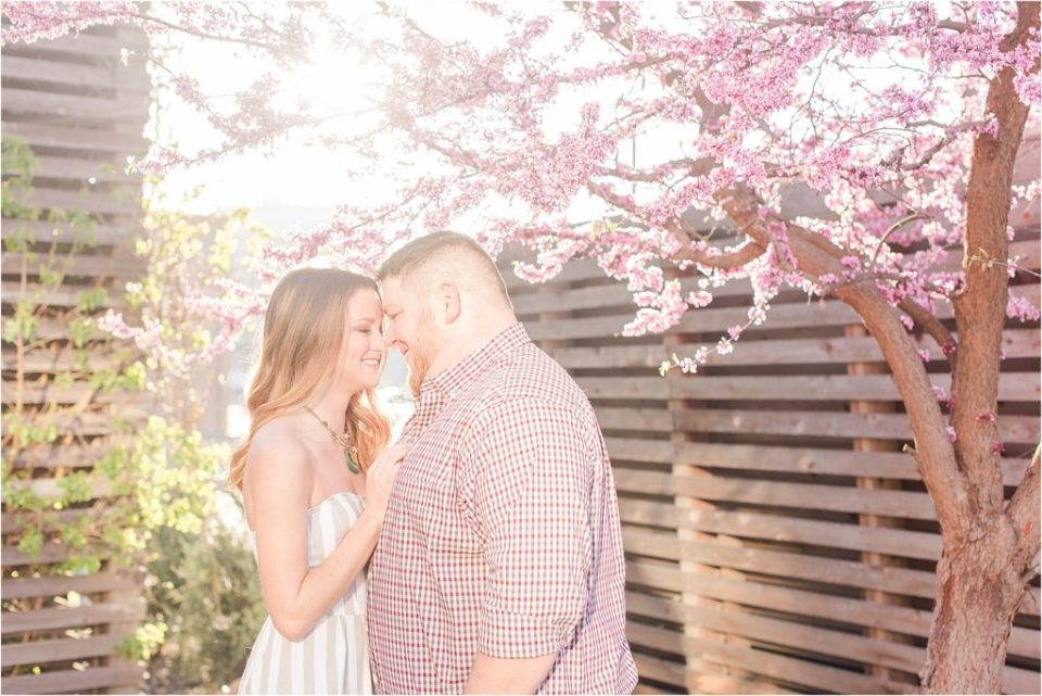 Kansas City Spring sunrise engagement session at the Crossroads