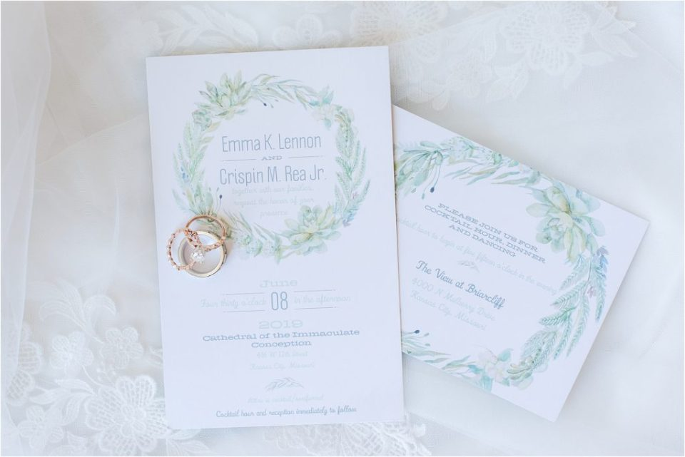 shutterfly wedding invites with greenery - downtown kcmo wedding photographer