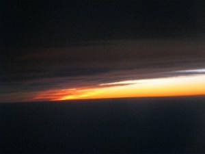 Florida sunset from an airplane window
