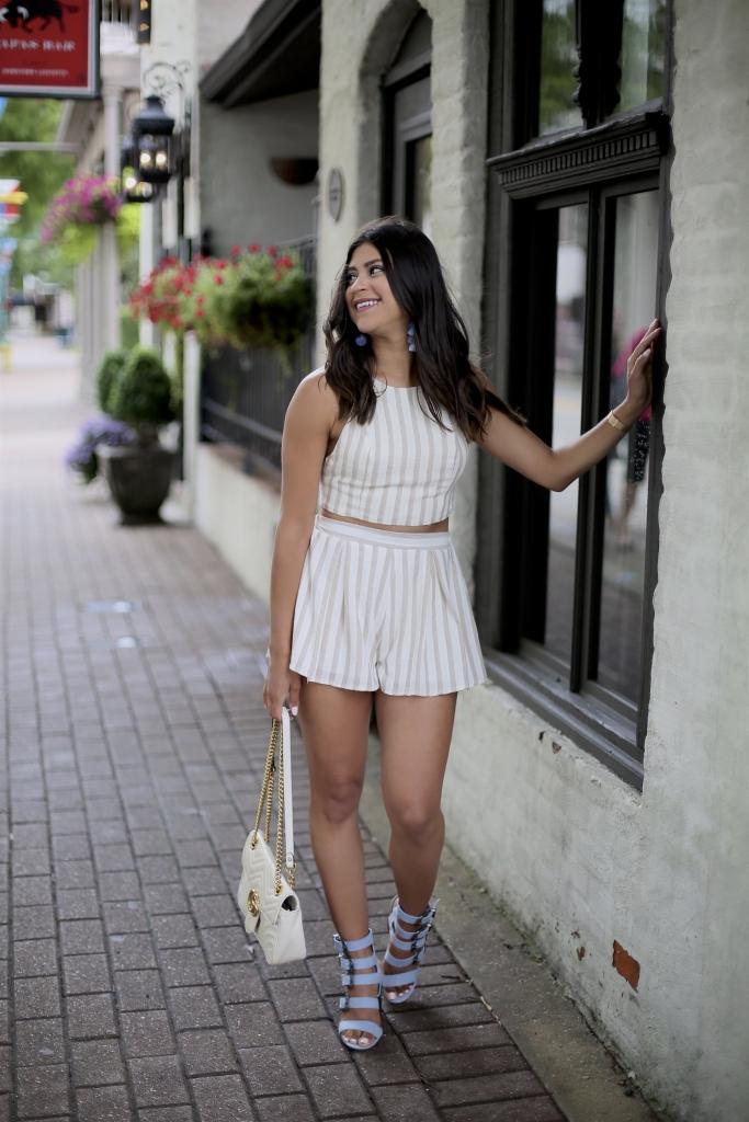 Lifestyle blogger Kelsey Kaplan of Kelsey Kaplan Fashion wearing two-piece set and gucci purse