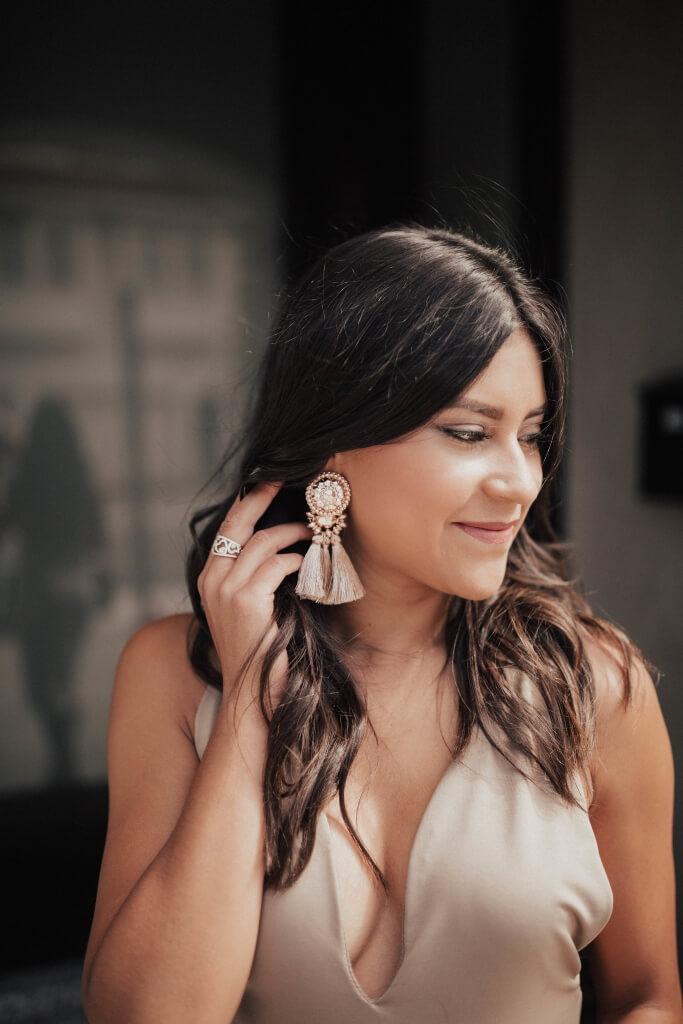 Life style blogger Kelsey Kaplan of Kelsey Kaplan Fashion wearing Rose Gold Tassel Earrings