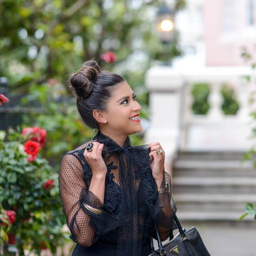 Kelsey Kaplan of Kelsey Kaplan Fashion lifestyle blog wearing bow hairstyle and prada bag