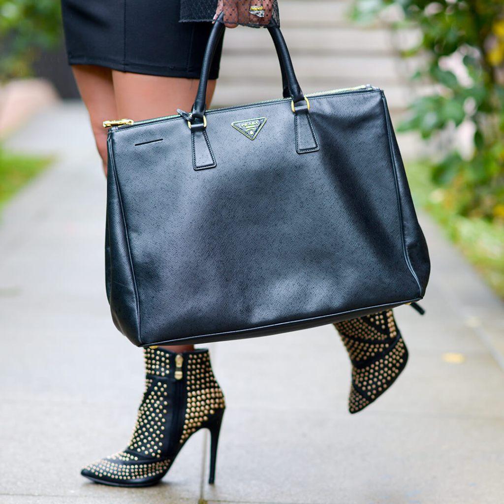 Kelsey Kaplan of Kelsey Kaplan Fashion lifestyle blog wearing studded booties and prada bag