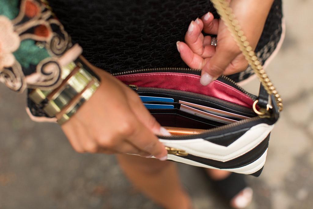 Lifestyle Blogger Kelsey Kaplan of Kelsey Kaplan Fashion Wearing Crochet Romper and Gucci Purse