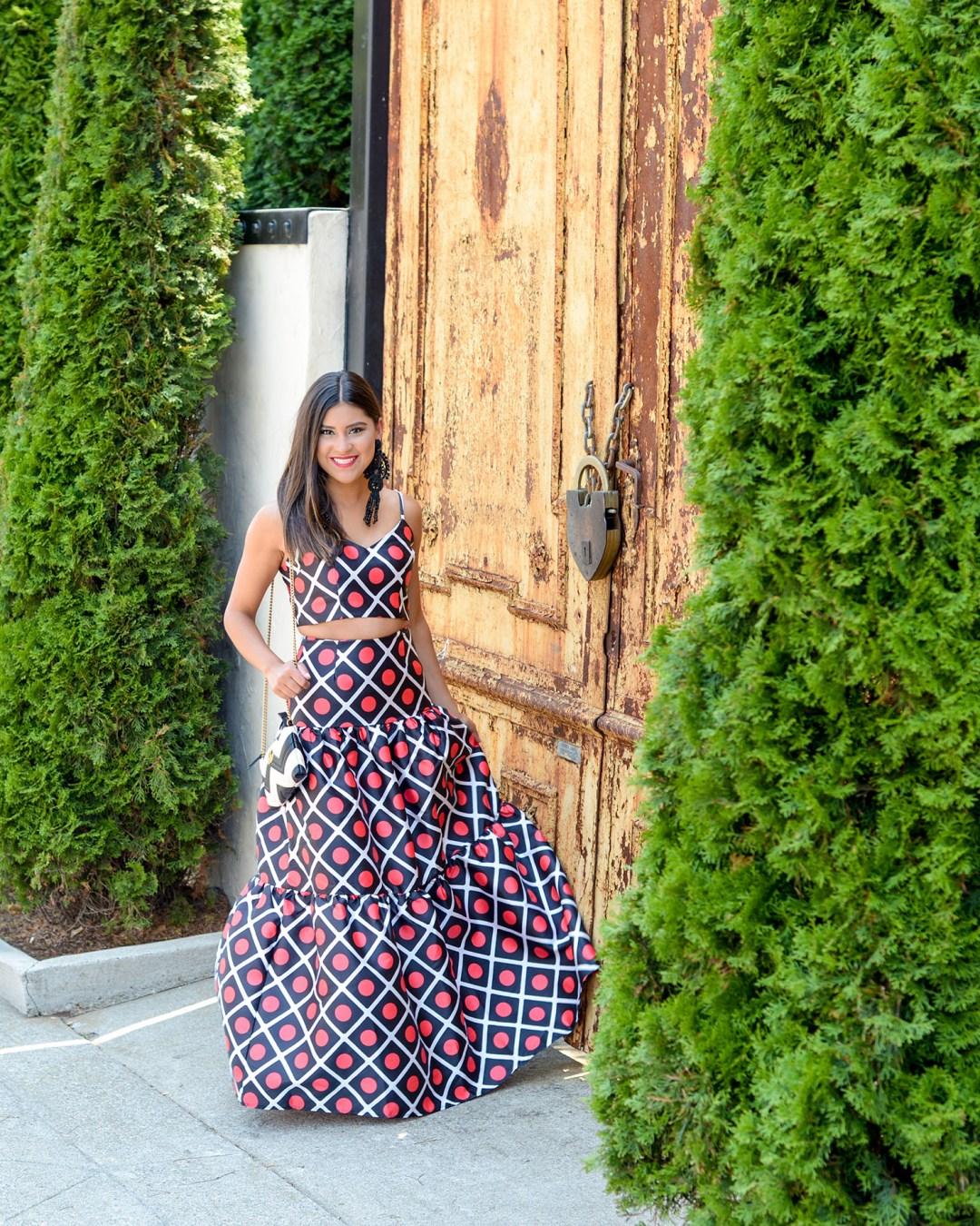 Lifestyle blogger, Kelsey Kaplan of Kelsey Kaplan Fashion wearing two piece dress and chevron gucci purse