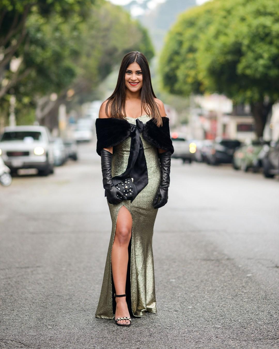 Lifestyle blogger Kelsey Kaplan of Kelsey Kaplan fashion wearing metallic mermaid dress and Stuart Weitzman pearl sandals