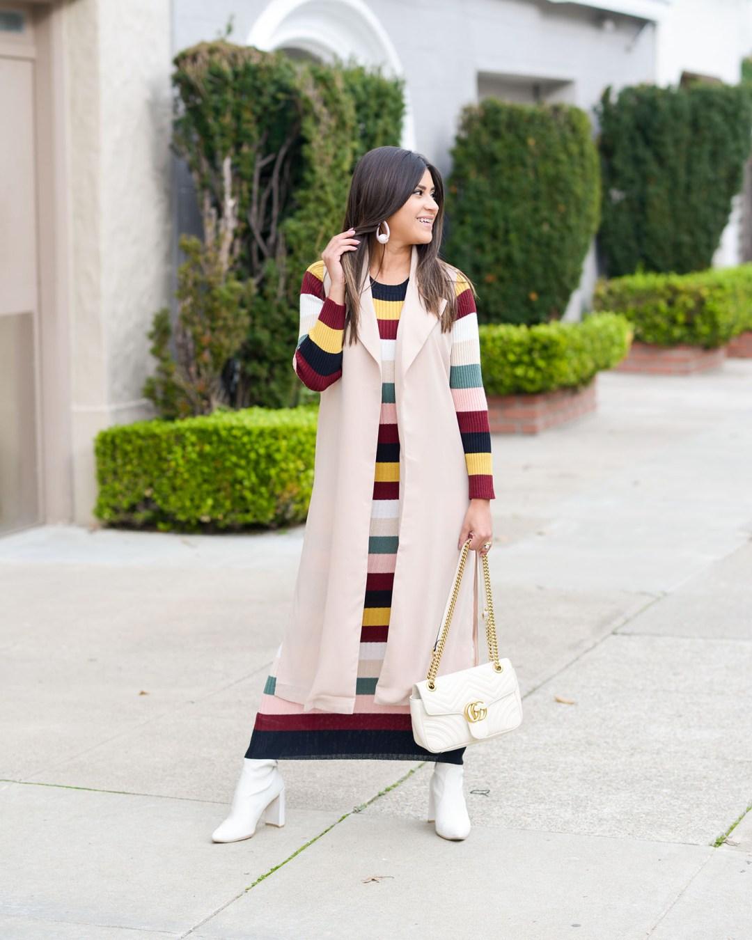 Lifestyle blogger Kelsey Kaplan of Kelsey Kaplan Fashion wearing Stripe sweater dress and white Stuart Weitzman boots