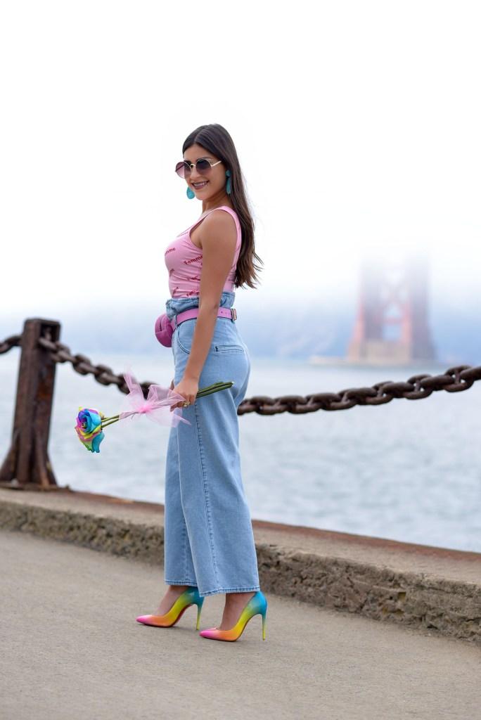 Lifestyle Blogger Kelsey Kaplan of Kelsey Kaplan Fashion wearing Christian Louboutin rainbow pumps and gucci belt bag