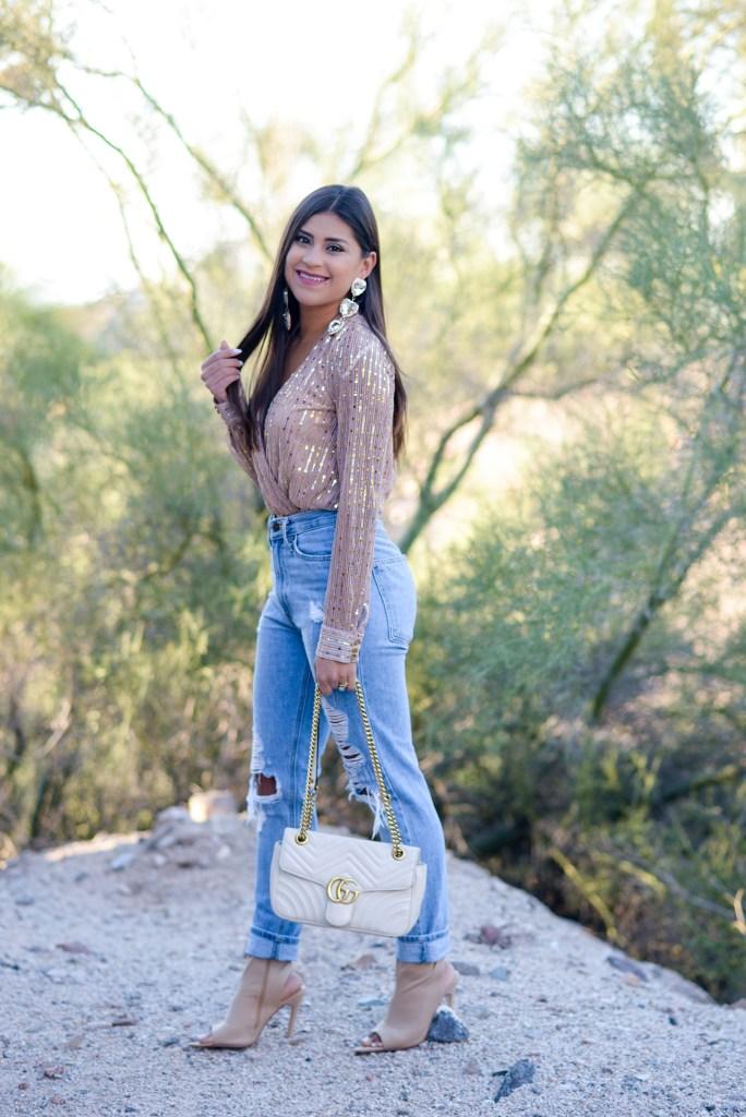 lifestyle blogger Kelsey Kaplan of Kelsey Kaplan Fashion wearing sequin gold bodysuit and white gucci purse