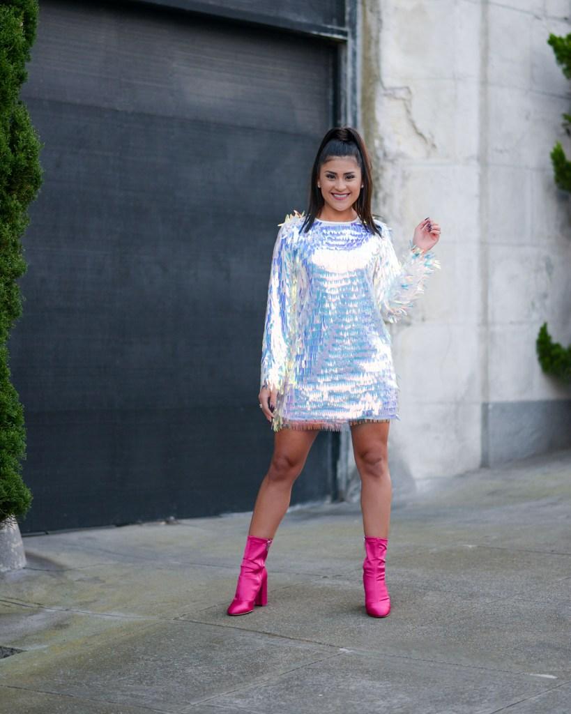 Lifestyle blogger Kelsey Kaplan of Kelsey Kaplan Fashion wearing fringe sequin dress and pink booties