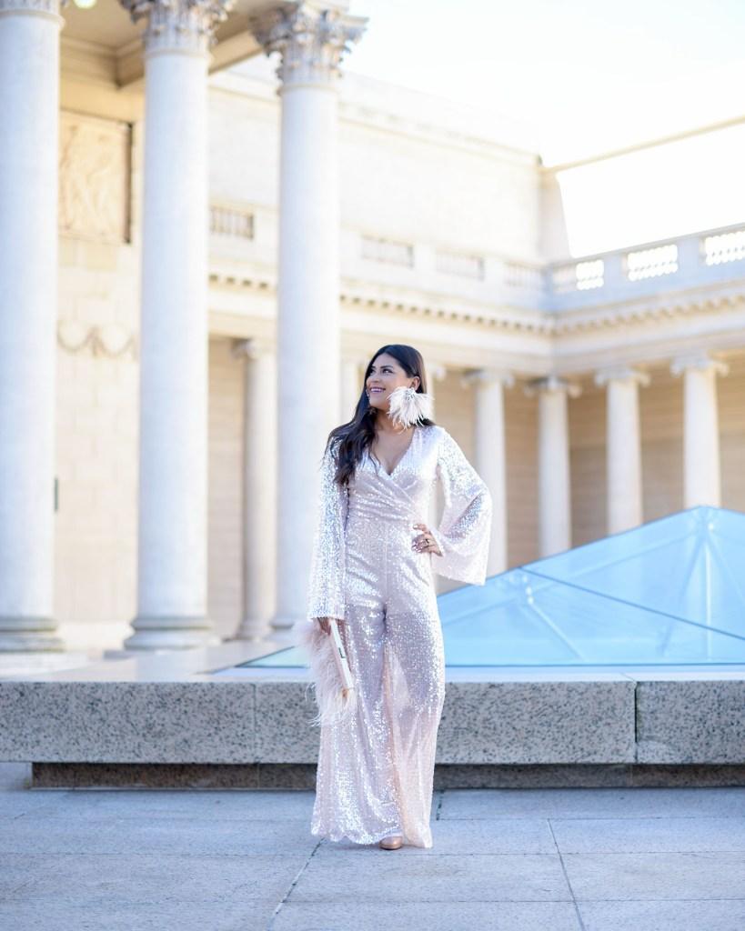 Lifestyle Blogger Kelsey Kaplan of Kelsey Kaplan Fashion wearing sequin romper and Louboutin pumps