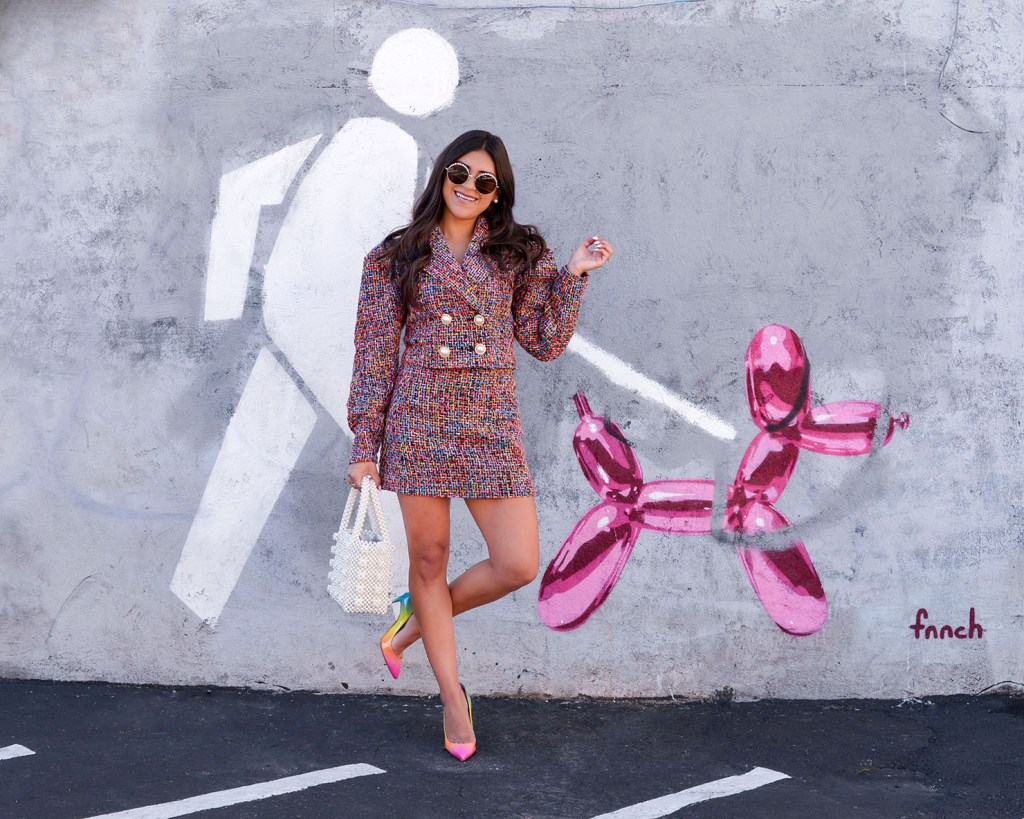 Lifestyle blogger Kelsey Kaplan of Kelsey Kaplan Fashion wearing rainbow tweed suit and rainbow Louboutins