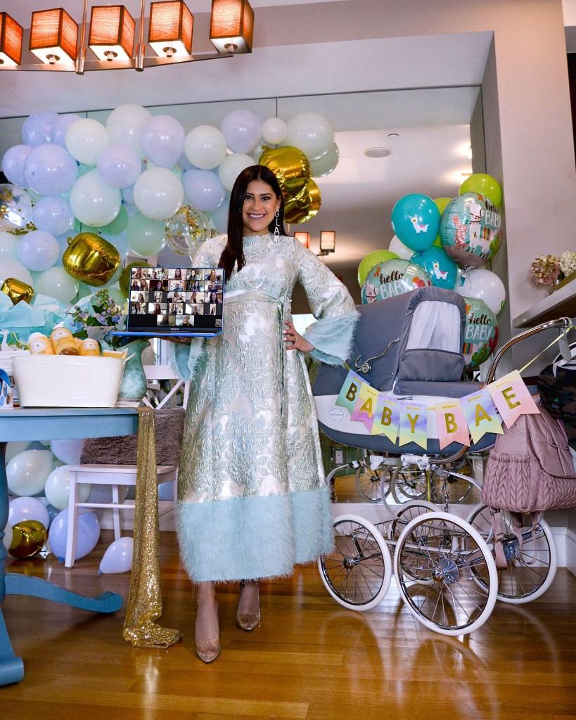 Lifestyle blogger Kelsey Kaplan of Kelsey Kaplan Fashion during her virtual baby shower