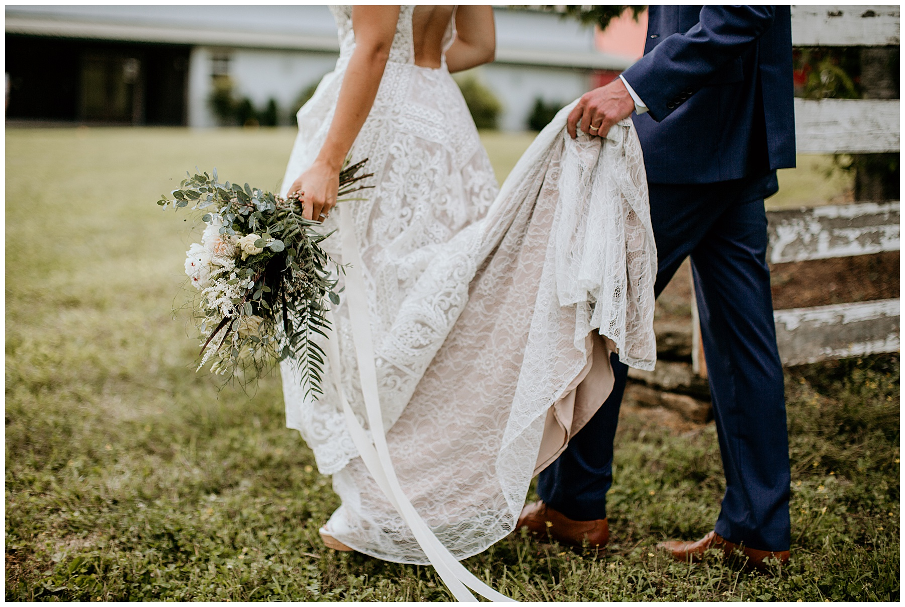 bride and groom walking away after wedding ceremony using wedding day timeline