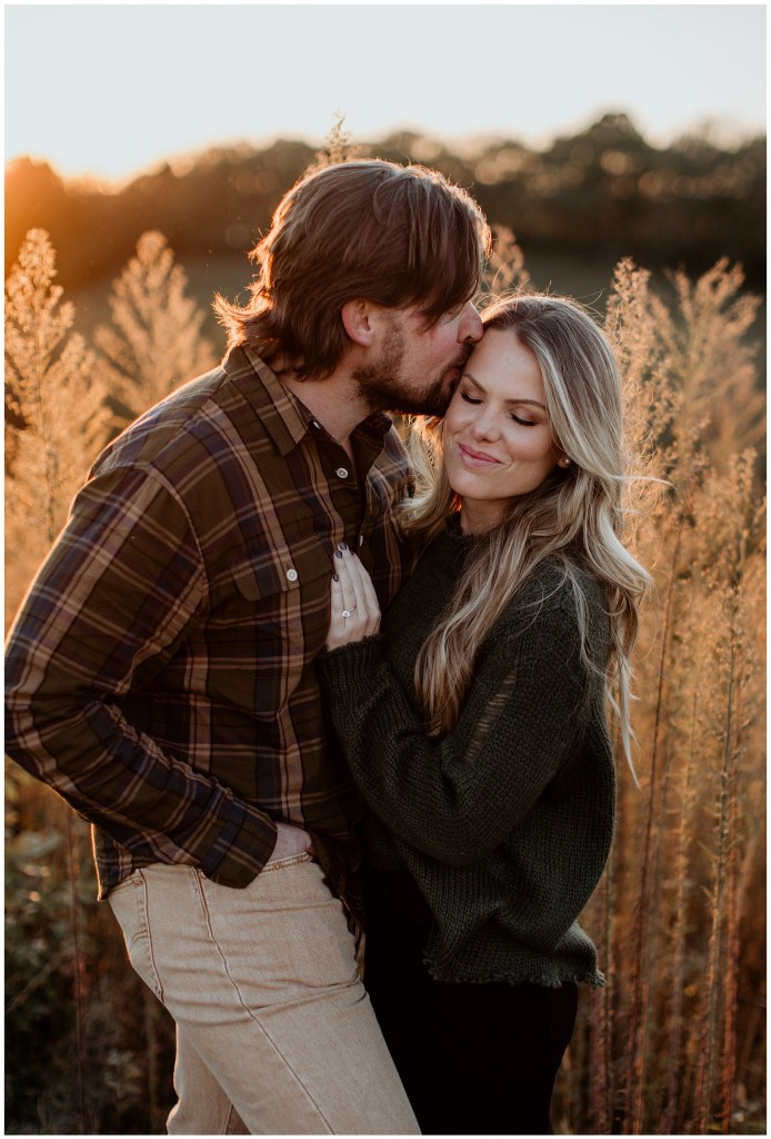 couple kissing during engagement session