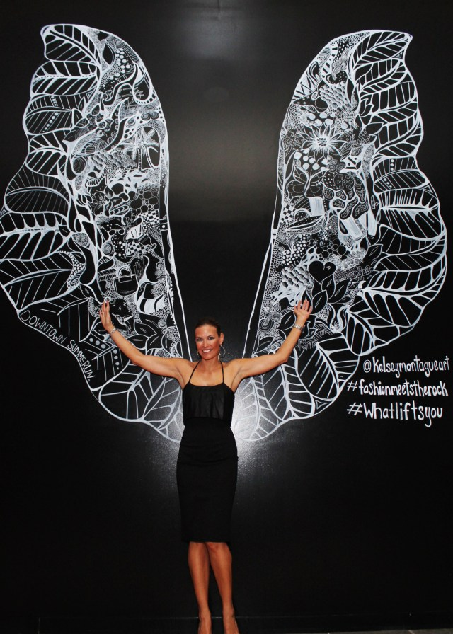 Kelsey Montague Art wings black dress